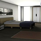 Stylish Bedroom rendered graphics